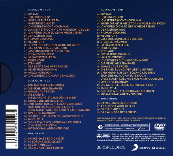 CD Cover Berg Mosaik Live Tracklist