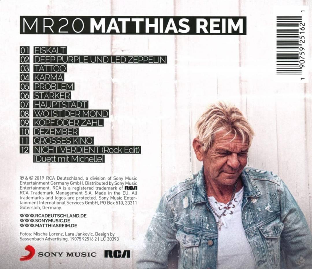 Matthias Reim MR20 Rückseite Cover